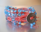 Bohemian Four-in-One Wrap Bracelet, Loom Bracelet, Macrame Bracelet, Wrap Bracelet, Aqua and Coral Bracelet, Czech Glass Bracelet