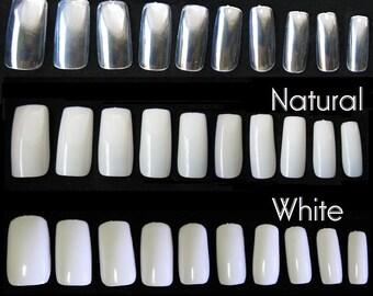 500pc Full Cover False Nail Tips Fingernail Manicure Acrylic gel DIY Clear white natural fake nails long