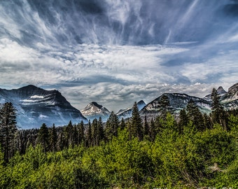 GLACIER NATIONAL PARK wild montana sky clouds mountains