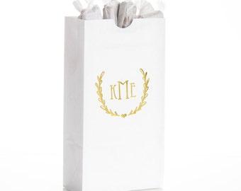 Personalized Monogram Wedding Favor Gift Bags, Set of 25 - Custom Party Favor Gift Bags, Personalized Small Popcorn Bags