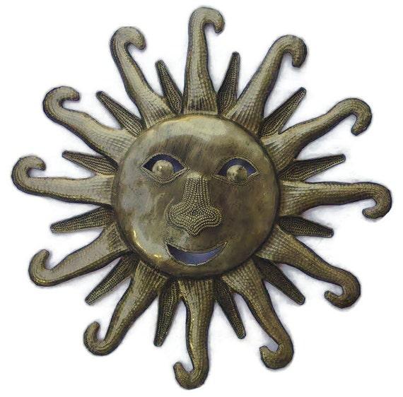 "Sun Face, Haiti Metal Art, Recycled Steel Handmade 11"" x 11"""