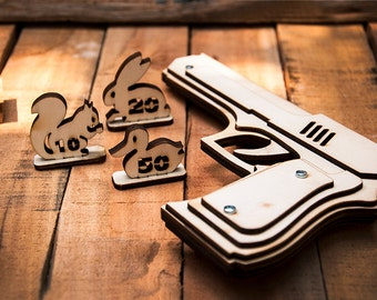 Husband Gift, Rubber Band Gun With Animals Targets. Wooden Gun Shoots Rubber Bands! Father Gift Birthday Gift, Boyfriend Gift, Gift For Men