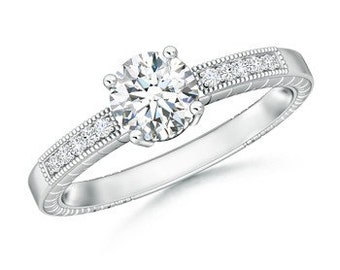 Solitaire 4-Prong Diamond Ring with Milgrain Detailing
