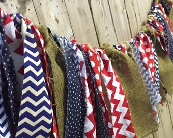 Memorial Day, 4th of July, fabric garland, wall decor, holidays, red white & blue