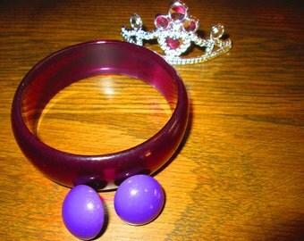 80's Purple Bangle & Earrings