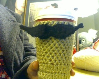 Crochet mustache cup cozy