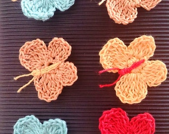 Crocheted Butterfly and Flower Embellishments