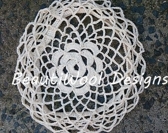 Crocheted Cotton Lace Fishnet Bridal Cap. Ivory Colour. Free Shipping.