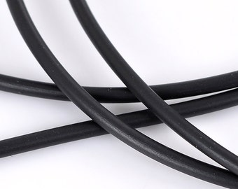 Black Rubber Cord, Hollow, 2.5 mm Diam., 1 mm Hole, 1 YD (RC-BLK)