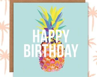 Pineapple Birthday Card - pineapple cards - birthday cards - pineapple design - paper plane - paperplane