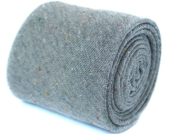 speckled pale grey cotton tie by Frederick Thomas FT1965
