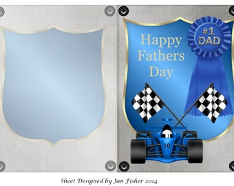 Fathers day card in blue (download)