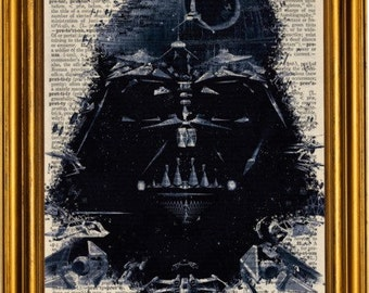 Star Wars Darth Vader art mixed media on upcycled vintage dictionary page 8x10