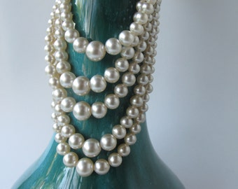 1 Pearl necklace, multi stranded necklace, white, white and silver,pearls, white necklace, vintage jewelry, rhinestones