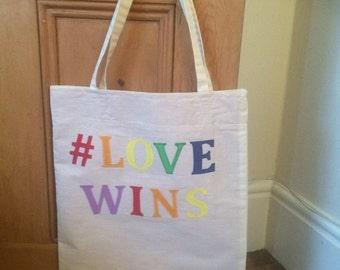 Handmade canvas lined applique #lovewins tote bag