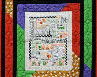 Halloween Haunts quilt and embroidery pattern by Honey's House Quilts     #QS 0101