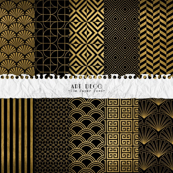Black And Gold Art Deco Digital Scrapbook Papers 10 Great