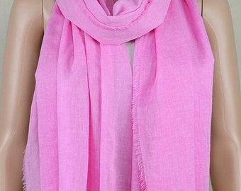 Pink cotton scarf, leisure square tassel long scarf, shawl, spring, autumn fashion scarf