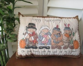 Primitive Inspirational Thanksgiving Pillow - Handmade