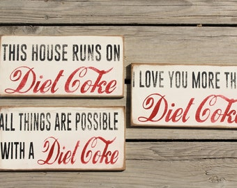 Diet Coke Distressed Wall Decor Signs