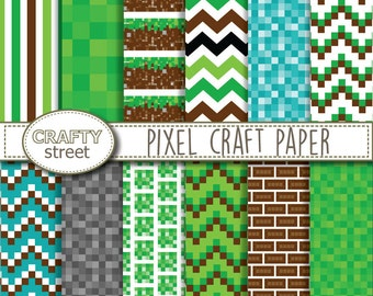 Pixel Craft digital paper, Digital paper, Birthday, Digital background, Chevron, Scrapbooking paper, Scrapbook paper, INSTANT DOWNLOAD