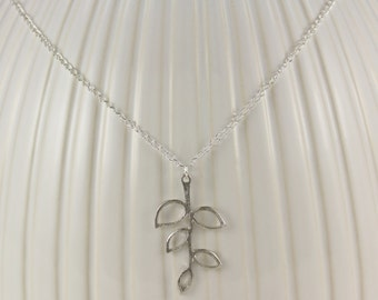Silver laurel leaf necklace pendant coronas branch greek goddess jewelry
