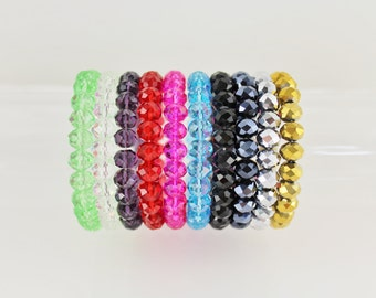Faceted bead stretch bracelet stackable plastic beads beaded stretchy
