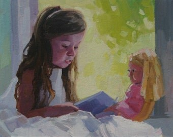 """Painting Oil Kids Room Decor Girl with doll Original Art 6""""x8"""""""