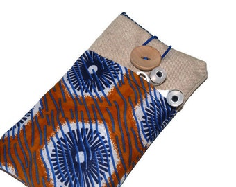 iPhone 6 Case / Linen iPhone 5S Sleeve / Padded iPhone 6 Plus protector / iPhone 4S / iPod Touch 5g pouch / cell phone pouch  African Fabric