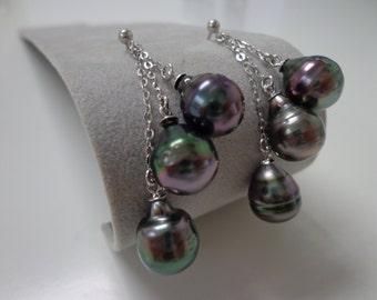 9-9.9mm Dark Baroque Tahitian Pearl Earrings