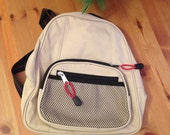 Mini Backpack Tan with Black and Red Accents Daypack