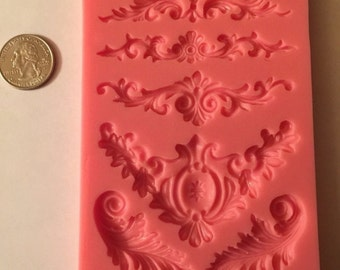 Scrolls Silicone Mold for Fondant, Gum Paste, Chocolate Soap Resin Clay Food Safe