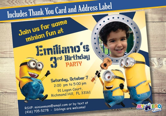 Invitation card maker minions invitationswedd minions birthday invitation customize it with the photo of stopboris Images