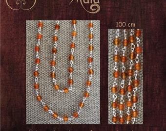 Silver and Carnelian Mala Necklace - Collier mala argent et cornaline