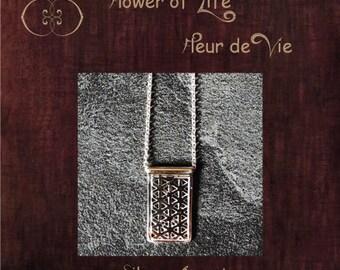 Sri Yantra et fleur de vie breloques argent colliers - Colllier d'argent Sri Yantra et fleur de vie