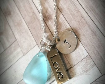 Custom Hand Stamped Nautical Sea Glass and Love Necklace