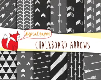 Chalkboard Arrows Digital Paper~ Geometric Chevron Triangle Backgrounds~ Printable ~ Digital Scrapbooking~ Instant Download