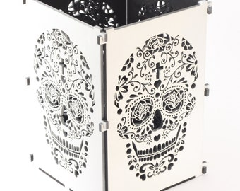 Sugar Skull, White Sugar Skull Light Box, Candle Box, Candle Holder, Day Of the Dead, Dia De Los Muertos, Mexican Skull, Mexican Sugar Skull