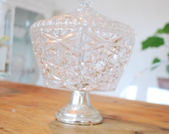YEI Crystal glass container with lid
