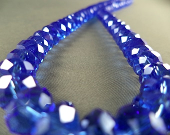 "London Blue Faceted Crystal Rondelle Beads - 8mm - 16"" Strand"