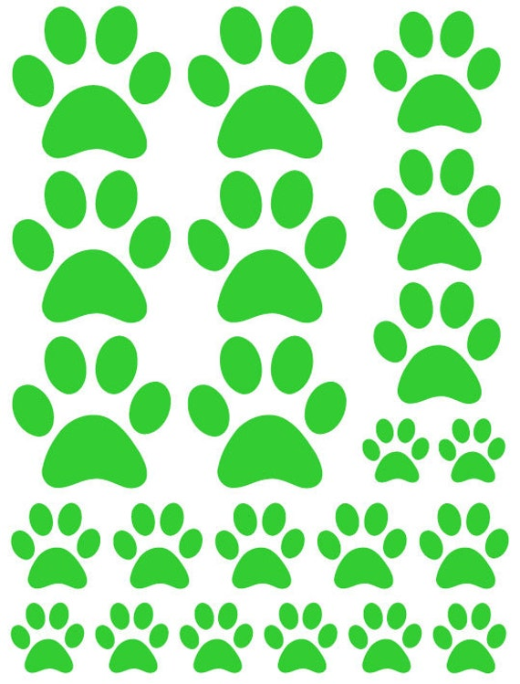 44 Lime Green Paw Prints Vinyl Wall Decals Stickers Bedroom Teen Kids Baby Dorm Room Cat Dog Pet Removable Custom Easy to Install Wall Art