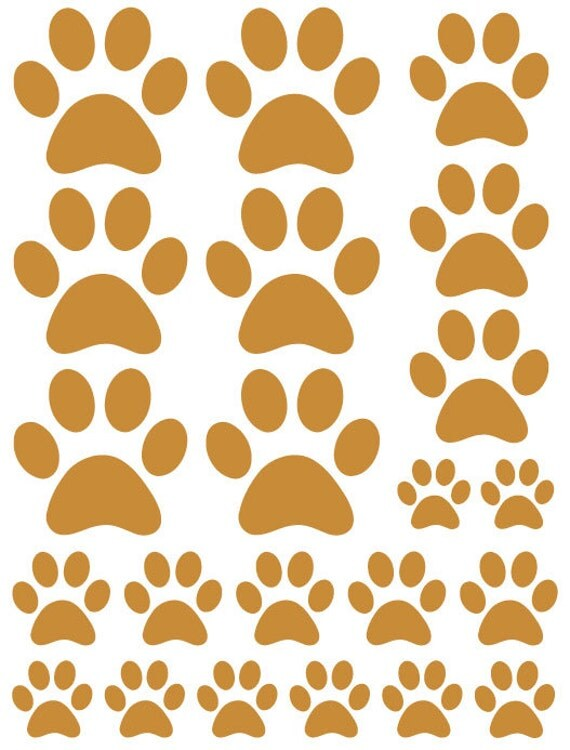 44 Caramel Tan Paw Prints Vinyl Wall Decals Stickers Bedroom Teen Kids Baby Dorm Room Cat Dog Pet Removable Custom Easy to Install Wall Art