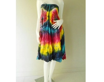 Rainbow Dress / 2in 1 Tie Dye Cotton  Dress Boho Hippie Funky Smocked Maxi Dress / Long Skirt S-L (23)