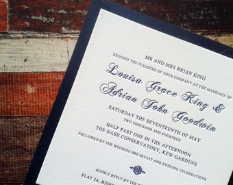 Letterpress Wedding Invitations, Script, Simple, Traditional, Colette sample