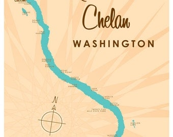 Lake Chelan, WA Map - Metal Sign