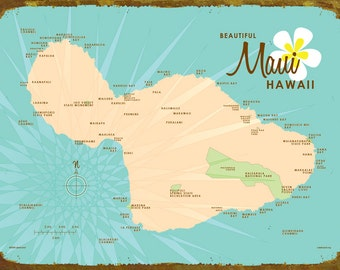 Maui, HI Map (Turquoise) - Wood or Metal Sign