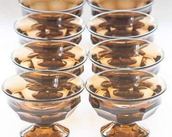 """Champagne Glasses Dessert Cups Viking Glass """"Georgian"""" Vintage Honeycomb Brown Footed Brown Glass Sherbet Ice Cream Fruit Cups"""