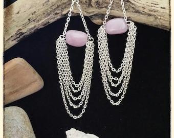 "Earings "" Lily"" pink quartz"