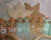 """10 Tiny Frosted Seaglass Bottles~1""""~Stenciled Bottles~Sea Glass~Beach Wedding~ Mermaid Party~Beach Jars~Bottle Garland~Decoration"""