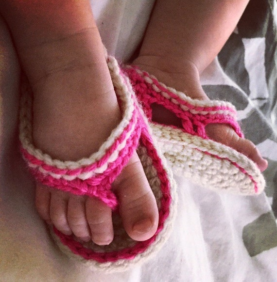 Crochet baby sandals unisex baby flip flops knit by SassyProjex